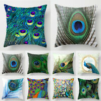 UK Peacock Feather Cotton Linen Throw Pillow Case Sofa Cushion Cover Home Decor