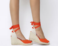 Womens Office Marmalade Espadrille Wedges Red Canvas Heels