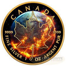APOCALYPSE MAPLE LEAF - 2016 1 oz Pure Silver Coin - Black Ruthenium , 24KT Gold