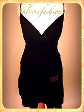 ✨GOLDIGGA Black 100% Cotton Sexy Skater Dress UK 12 EU 40 US 8 FAST📮✨