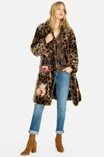 💕🐆$495 JOHNNY WAS EESHAL LEOPARD FAUX FUR EMBROIDERED COAT MEDIUM LAST ONE 🐆