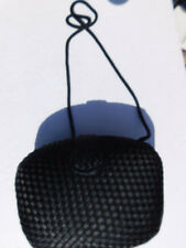 LORD & TAYLOR  BLACK WOVEN SATIN COCKTAIL EVINING BAG WITH  STRAP