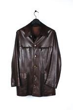 Original Hermes Men Leather Brown Jacket in size 54IT (L)