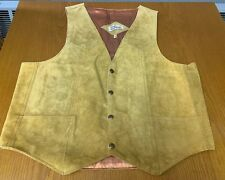 Mens Baja California Tan Suede Leather Cowboy Vest Sz XL Snaps Made In Mexico
