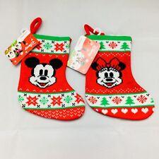 Disney Mickey & Minnie Mouse Mini Knit Christmas Stockings Set of 2 NWT