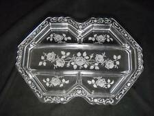 Vintage Fostoria Glass Midnight Rose 6009 Floral Etched Five Part Relish 1933-57