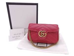 Auth Gucci GG Marmont Mini Bag Charm Red Leather/Goldtone - e47841f