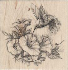"""Hummingbird and Flowers"" Rubber Stamp by Inkadinkado"
