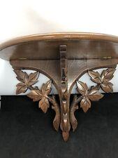 Antique Walnut Pierced Folding Wall Shelf ~ Black Forest~ Carved Leaves