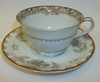Vintage Noritake Occupied Japan Teacup Saucer Set - Burgundy Floral