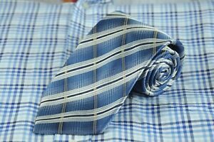 Cellini Men's Tie Blue White & Brown Plaid Woven Silk Necktie 60 x 3.75 in.