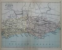 1877 Victorian map of Sussex. Brighton, Chichester, Hastings. 143 yrs old. 1114