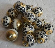 HANDMADE CERAMIC WHITE & BLACK DESIGNED CABINET DOOR KNOBS PULLS FROM INDIA