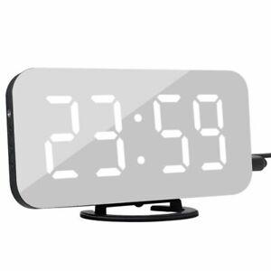 Digital LED Alarm Clock Snooze Display Time Night LED Table Desk 2 USB Charger