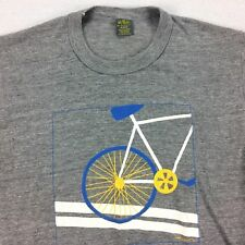 Vtg 70s 80s Fixie Bicycle TShirt MEDIUM M Rayon Tri-Blend Gray JERZEES Messenger