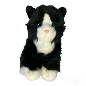 "Toys R Us Tuxedo Black White Kitty Blue Eyes Cat Kitten Plush Stuffed Toy 10"""