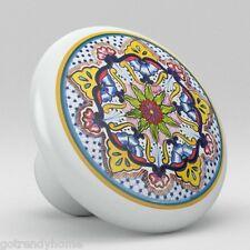 Round Talavera Design Ceramic Knobs Pulls Kitchen Drawer Cabinet Dresser 1188
