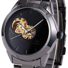 Mens Mechanical Skeleton Wrist Watch Steampunk Sport Black Stainless Steel Gift