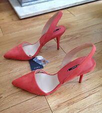ZARA Peach/saumon Pointu Vamp Talon Haut Bride Arrière Chaussures, Taille UK 4/EUR 37.