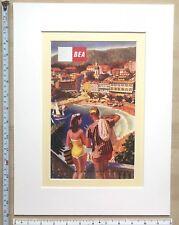 "Mounted Vintage poster: British Europe Airways BEA 1950s Travel 16 x 12"" NEW"