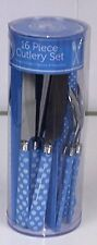 Blue Vintage Style Polka Dot 16 Piece Cutlery Set