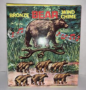 Vtg NOS  1970's Metal Copper Bronze Bear Mobile Wind Chime w/Box HONG KONG