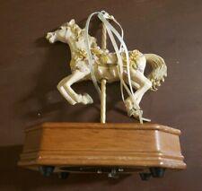 CAROUSEL HORSE Wood Base Music BoWhite Horse w/ Ribbon Works