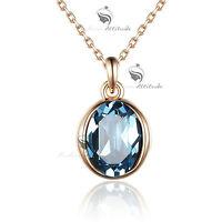 18k rose gold gf made with blue SWAROVSKI crystal pendant necklace