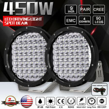 450W 9inch Spot Cree LED Driving Lights Black Round ATV SUV Truck Offroad Lamps