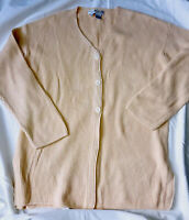 Saks Fifth Ave Yellow 100% Cotton V-Neck Cardigan Size Large with Pockets