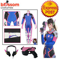 N145 Overwatch Cosplay DVA Hana Song Jumpsuit Costume Headset Earphone Gun Props