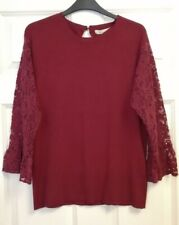 Burgundy Lace Sleeved Jumper - Size 14