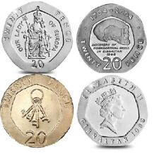 More details for 20p gibraltar coins lady of europa neandathal skull keys twenty pence 1988-2013