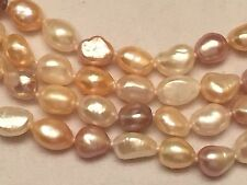 """Endless Peach, Lavender, and White Baroque Pearl Strand Necklace, 60"""""""