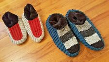 Wool Sock Slippers Set of 2: Teal/Grey Size 7/8 & Red/Grey Size 5/6 w/ankle wrap