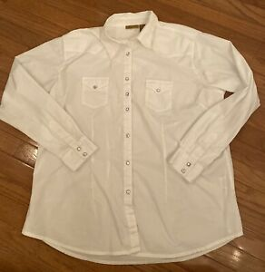 Womens Wrangler White Rhinestone Pearl Snap Button Up Shirt XXL