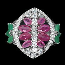 Ring Rubin Smaragd & CZ 925 Silber 585 Weißgold Gr. 53