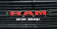 <<Red>> 2019 Only Dodge Ram Rebel / Sport Front Grill Emblem Overlay Decals