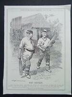 PUNCH POLITICAL CARTOON KIER HARDIE CRICKET VINTAGE  DATED 1906 18x28CM