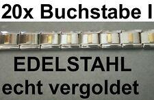 20x Lettre I Plaqué or Acier Inox S'Adapter pour Bracelet Nomination