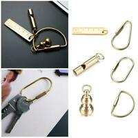 DIY Craft Tools Brass Keychain Portable Key Ring Ruler Whistle Gourd Buckle