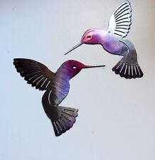 "Hummingbird  Fuchsia Tainted  Pair Metal Wall Art Decor 6"" x 6"""