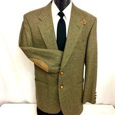 STAFFORD Men Brown NORFOLK Sport Coat ELBOW PATCH Jacket Wool TWEED Blazer 42 L