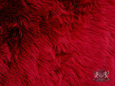 FAUX FUR SHAGGY DARK RED LONG PILE HAIR FABRIC BYT YARD