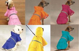 DOG RAIN COAT JACKET PET WATERPROOF REFLECTIVE RAINCOAT 4 COLORS  6 SIZES