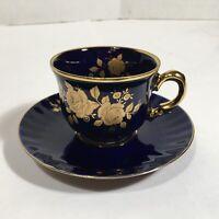 ECHT Kobalt Weimar Germany BLUE & 24K GOLD Porcelain Cup & Saucer ~ Floral