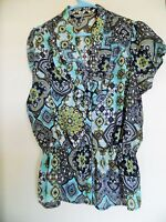 LARRY LEVINE Womens Size Large Top Multi Print Blouse