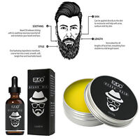EZGO Beard Oil + Beard Balm Kit Facial Hair Wax Growth Shine Conditioner