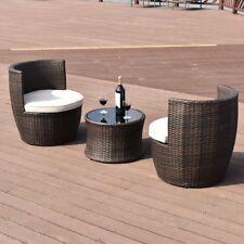 3X Outdoor Patio Modern Rattan Stackable 1 Coffee Table N 2 Sofa Furniture Set