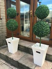 2x Artificial Double Ball Trees With Mocca Planter